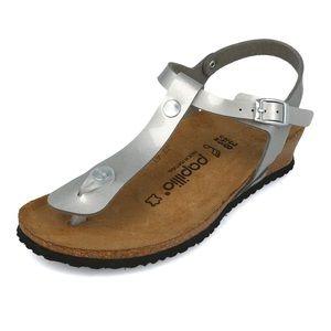 New Birkenstock Papillo Ashley Silver Wedge Sandal